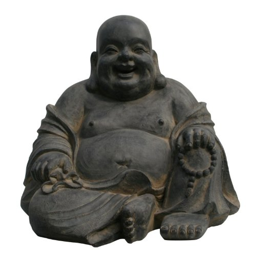 Figura de Buda sentado riendo - para casa y jardín - Altura 24 cm - negro