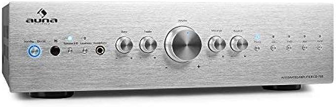 auna AV2-CD708 – Amplificateur HiFi, Plaque Frontale en INOX brossé, 5 entrées..