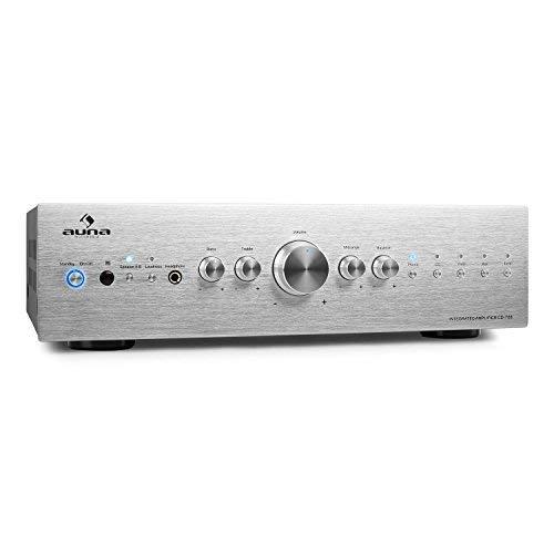 auna CD708 - Stereo-Verstärker, HiFi-Verstärker, Audio Verstärker, 125 Watt RMS, 5 x Stereo-Cinch-Line-Eingänge, AUX, Fernbedienung, Silber