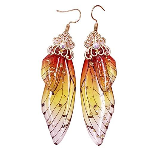 Pendientes de alas de mariposa Vintage elegante pendiente colgante de ala de hada pendientes largos de gancho de gota para mujeres señoras niñas joyería de aniversario de cumpleaños