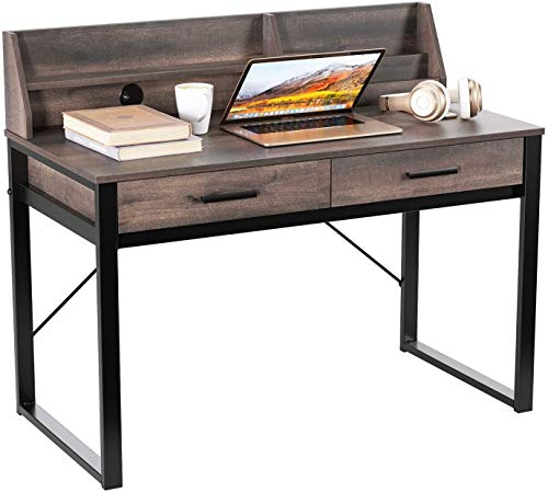 HOMECHO Computer Desk Industrial Writing Desk with Drawers and Shelf Home Office Writing Study Table for Bedroom Study Room Makeup Vanity Table Easy Assembly Rustic Brown