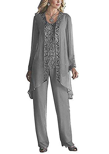 Women's Elegant Grey Chiffon Mother of The Bride Pant Suits for Wedding Plus Size US18W