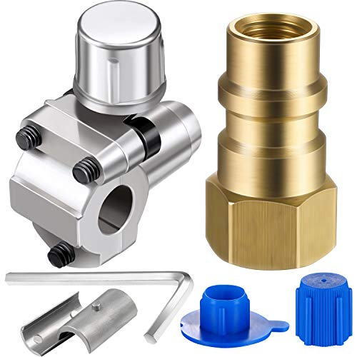 A/C Retrofit Valve with Dust Cap Converts R12 to R134a Fit 7/16 Inch Low Side Port BPV-31 Bullet Piercing Tap Valve Replace for AP4502525, BPV31D, GPV14, GPV31, GPV38, GPV56, MPV31 (2)