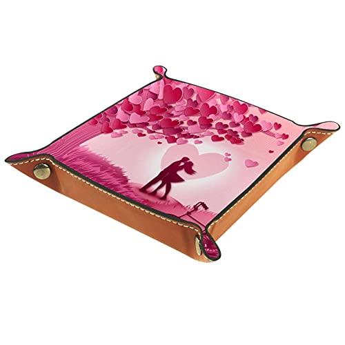 AITAI Bandeja de valet de cuero vegano, organizador de mesita de noche, placa de almacenamiento para escritorio, para besos, para parejas, prado