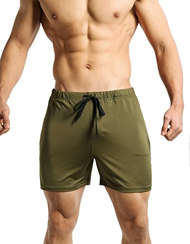 Tough Mode Mens Fitted WOD Shorts Running Bodybuilding Workout MMA Crossfit Training Tight Lifting Zipper Pocket Plus Size Army Green