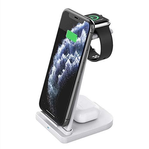 15W Fast Qi Qi Wireless Charger, 3 En 1 Soporte De La Estación De Carga para iPhone 12 11 XS MAX XR X Apple Watch SE 6 5 4 3 Airpods Pro Samsung S20,Blanco