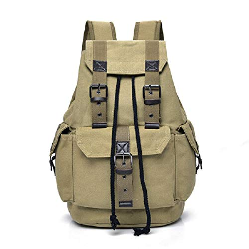 DKLGH Rucksack men's backpack men's large men's casual school bag men's backpack-Khaki