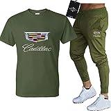 BOLGRTYXC Hombres y Mujeres Camiseta Chándal Conjunto para Ca-dillac Dos Piezas Manga Larga Tee Pantalones Sportwear Top Sudadera Deportiva/Verde Ejército/M
