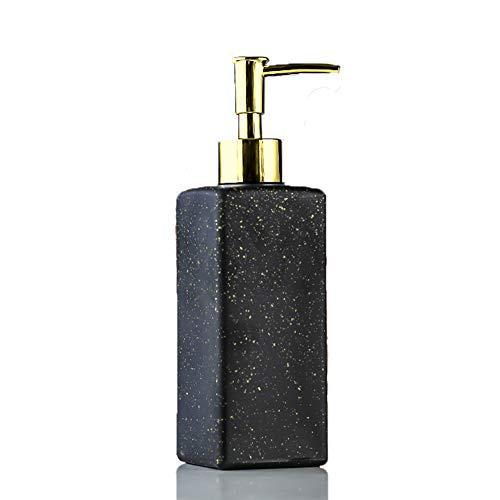 Dispensador de jabón de manos líquido recargable de porcelana de imitación para cocina, baño, dispensador de champú de botella cuadrada con bomba de plástico dorado, negro, blanco, verde (negro, 1)