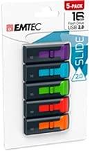 EMTEC C450 16GB, USB 2.0 Flash Drives, 5-Pack Assorted Colors