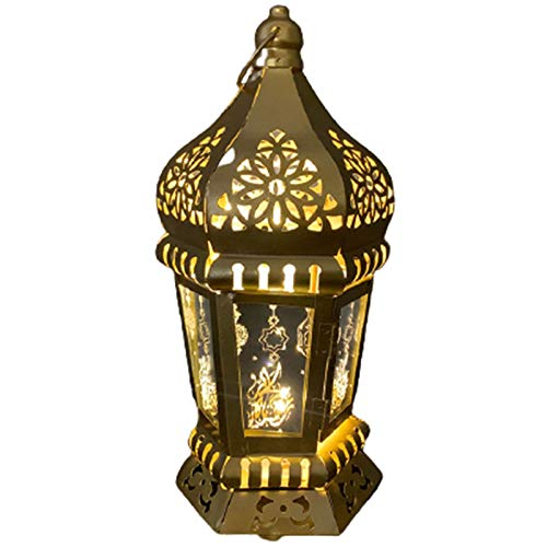 YTO Ranadan Eid al-Fitr Ramadán linternas linternas de Viento de Hierro, linternas árabes, Adornos artesanales y Colgantes(Size:B)