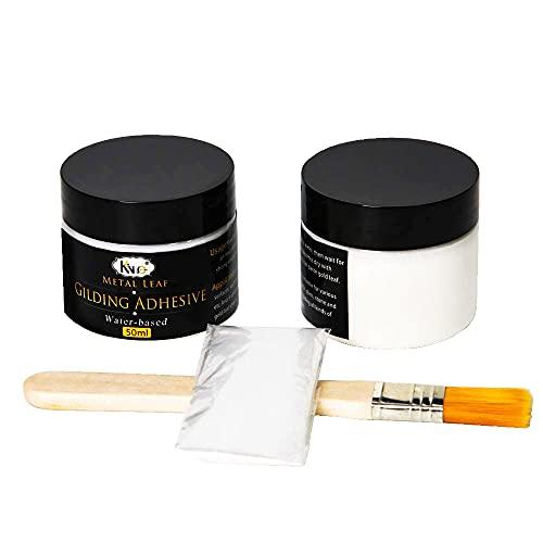 KINNO Vergoldung Skleber, 100 ml Epoxidharz-Blattgold Kleber Auf Wasserbasis für den Professionellen Bastel Gebrauch (100 ml + Pinsel + Handschuhe)