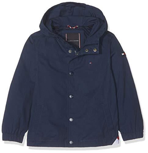 Tommy Hilfiger Jungen Hooded Coach Jacket Mantel, Blau (Black Iris 002), 98 (Herstellergröße:3)