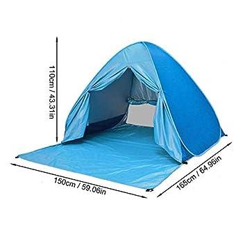 Abri de Plage Tente escamotable pour 2-3 Personnes, Pop-up instantané Automatique, auvent Portable, UPF 50+ Protection Solaire UV, Pare-Soleil pour Le Camping, la pêche, Pique-Nique, Plage (Bleu)