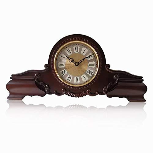 XUEXIONGSP Kaminuhr, leise dekorative Holz Mantel Uhr Batteriebetriebene Holz Design für Wohnzimmer Kamin Büro Küche Schreibtisch Regal & HauptDécor Geschenk