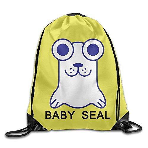 Lawenp Big Eyes Baby Seal Print Drawstring Backpack Rucksack Shoulder Bags Gym Bag Sport Bag
