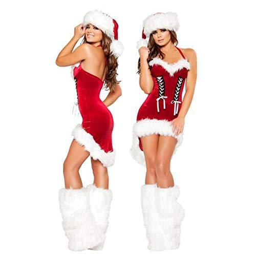 VENTDOUCE Disfraz de Sra. Claus para Mujer, Vestido sin Mangas de Papá Noel navideño, Traje de Terciopelo Rojo con Gorro y Calentador de piernas para Fiestas navideñas, Disfraces, Cosplay