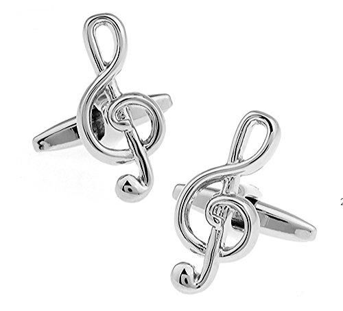 Silber Violinschlüssel Manschettenknöpfe in einer luxuriösen Präsentationsbox. Neuheit. Musik. Musik Note. Thema Schmuck
