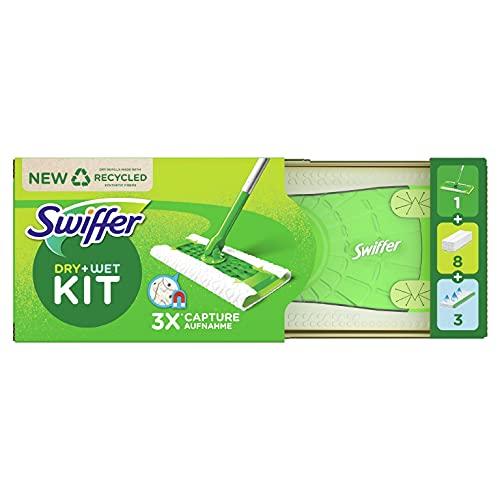 Swiffer Starter Kit Scopa Lavapavimenti per la Pulizia di Pavimenti In Legno Massiccio e Altri Materiali, Include 1 Scopa, 8 Panni Asciutti, 3 Panni Umidi
