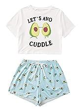 DIDK - Conjunto de pijama corto para mujer, diseño de dibujos animados, camiseta y pantalón corto, dos piezas, ropa de verano Avocado 01 S