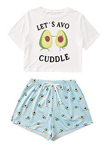 DIDK Damen Kurz Schlafanzug mit Avocado Muster Streifenhose Hausanzug Sommer Sleepwear Weiß #061 S