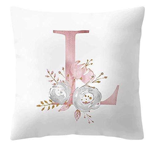 Funda de cojín - 45 x 45 cm - Letra L - Inicial - Nombre - Alfabeto - Cojín decorativo - Sofá - Cama - Casa - Dormitorio - Rosa - Flores - Color blanco y rosa
