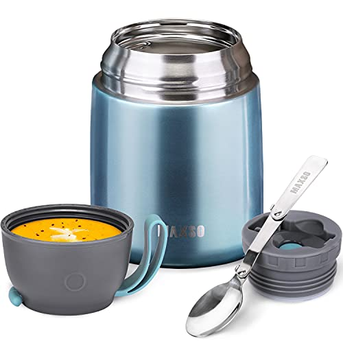 Thermos Food Jar for Hot & Cold Food for Kids Adult, 17 oz Soup Thermos Hot Food Containers for Lunch, Insulated Food Jar with Foldable Spoon (Ice Blue 1 Pack)