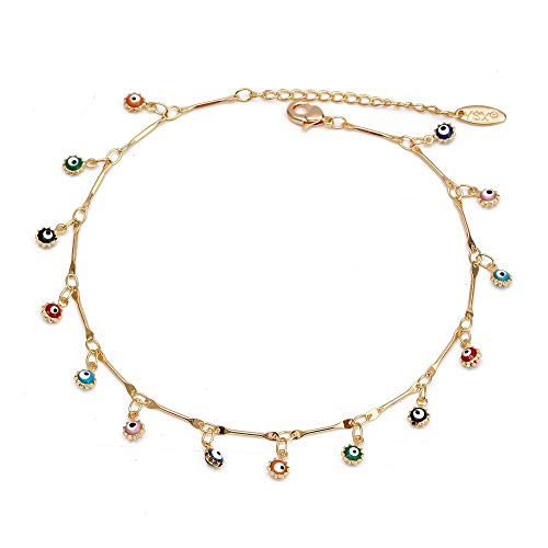 CHIY-GBC Lucky Eye Water Drop Star Sun Anklet Gold Color Leg Chain Ankle Bracelet Adjustable Fashion Foot Jewelry for Women Girls
