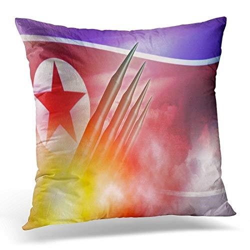 Decoración creativa Corea del Norte almuerzo Icbm misil para bomba nuclear prueba concepto defensa bandera funda almohada/almohada funda 50% algodón y 50% poliéster 45x45 pulgadas