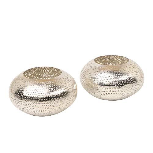 Casa Moro 2er Set Orientalische Silber-Laternen Selim aus echt versilbertem Messing | Kunsthandwerk aus Marokko | Windlichter Gartenwindlichter | L8016