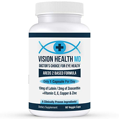 Vision Health MD - 1 Per Day AREDS 2 Eye Vitamins for Macular Degeneration - w/All 6 Clinically Proven Ingredients - Lutein, Zeaxanthin, Vitamin C, E, Copper & Zinc - Dye Free- 2 mo Supply, 60ct