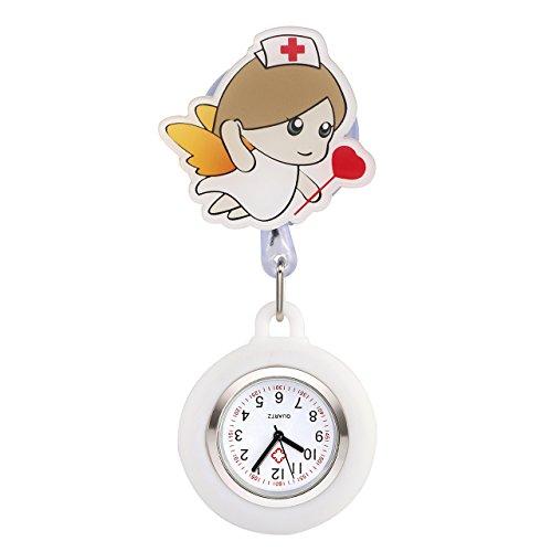 JSDDE Krankenschwester Uhr Pulsuhr Nurse Watch Kitteluhr Silikon Cartoon Mädchen Engel Taschenuhr Schwesternuhr Weiß #3