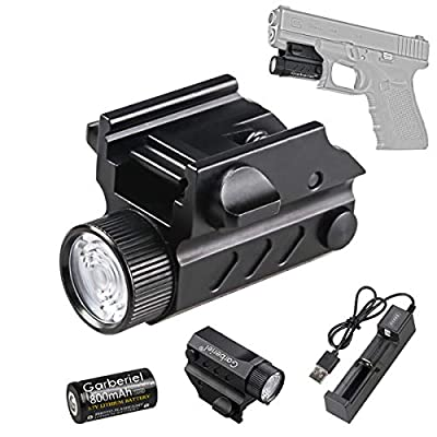 HECLOUD Tactical Handgun Flashlight, Rechargeable Glock Pistol 550 Lumens Mount Gun Torch with Battery,Charger, 50-80M Rang, for All Glock Handgun, Picatinny Rail, MIL-STD-1913 Rail, STANAG 2324 Rail