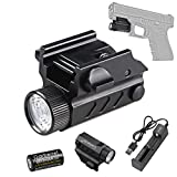 HECLOUD Tactical Handgun Flashlight, Rechargeable Glock Pistol Light Compact High Lumens Mount Gun Torch with Battery,Charger, for All Glock, Picatinny Rail, MIL-STD-1913 Rail, STANAG 2324 Rail