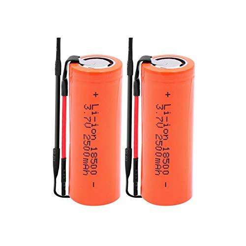 RitzyRose Pilas de iones de litio de 3,7 V 2500 mAh 18500, celdas de repuesto recargables para linterna LED 2 unidades