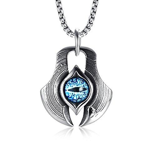 VNOX Herren-Halskette mit Anhänger aus Edelstahl, griechischer blauer Drache, böser Blick, Axt