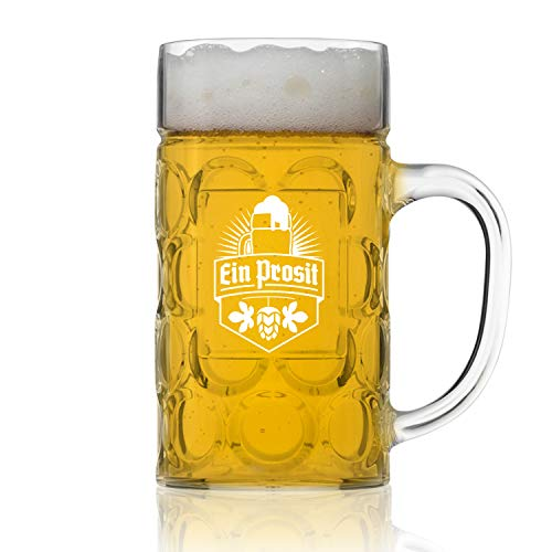 Unbreakable Styrene Plastic (NOT GLASS) .5L Oktoberfest German Beer Mug with Handle (22 oz.) Classic German Stein with Dimpled Finish - Vintage Party Brew Tankard- Lightweight Styrene- Made in USA