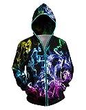 Honeystore Unisex Light Up Hoodie 3D Print Zipper Battery Powered Sweatshirts, BWLB-006 S