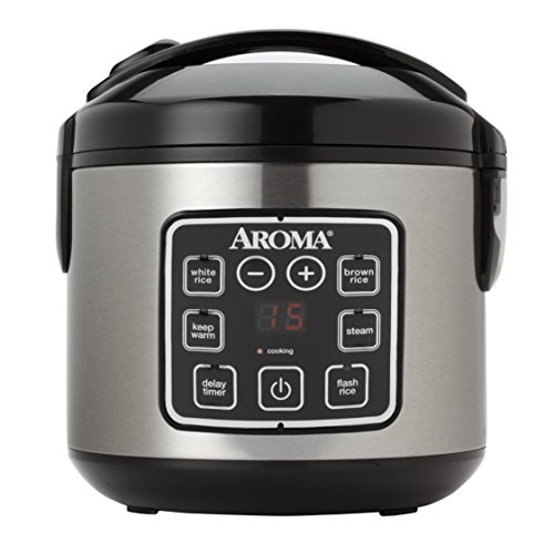 Aroma Housewares ARC-914SBD 2-8-Cups (Cooked) Digital Cool-Touch Rice Grain Cooker and Food Steamer,...