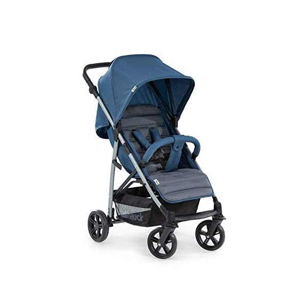 Hauck Rapid 4, 0 Months to 22 kg, Foldable, Compact, with one Hand, with Sleep Position, Height Adjustable Handle, Large Basket - denim/grey, Rapid 4, Up to 25 Kg Hauck Easy folding this pushchair is as easy to fold away as possible - the comfort stroller can be folded with one hand only within seconds, leaving one hand always free for your little ray of sunshine Long use this buggy can be used for a very long time. it is suitable from birth (also compatible with 2in1 carrycot or comfort fix infant car seat) up to a maximum of 22kg Comfortable back friendly push handle adjustable in height, the hood extendable; suspension, swivelling front wheels, soft padding, and large shopping basket 1