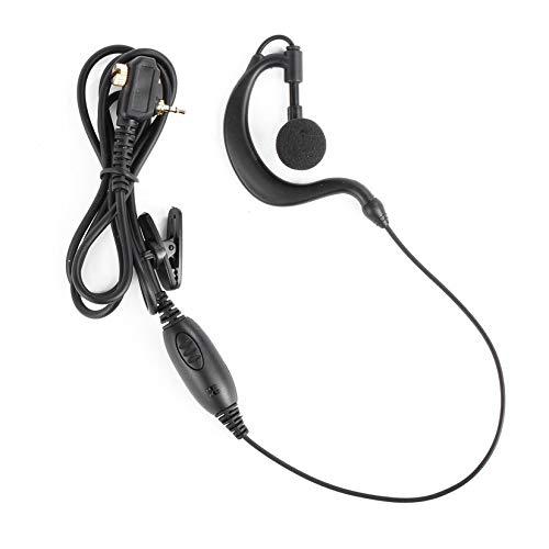 1 Pin Ohrhörer Headset PTT für Motorola Walkie Talkie MTP850 MTH800 MTH650 Tragbarer Ham Radio G-Shape-Clip-Mikrofon Kopfhörer - Schwarz