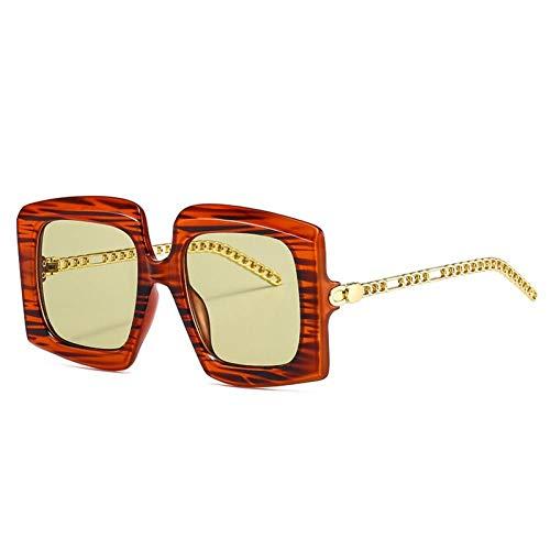 ZZOW Gafas De Sol Retro con Cadena De Metal para Mujer, Gafas Cuadradas con Gradiente De Diseñador De Marca, Gafas De Sol con Rayas De Tendencia para Hombres Y Mujeres