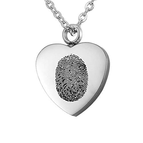 Valyria Denkmal Halskette Universalität graviert mit Fingerabdruck Herz Anhänger