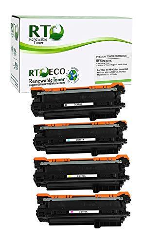 Renewable Toner Compatible Toner Cartridge Replacement for HP 507A 507X CE400X CE401A CE402A CE403A Laserjet M551 M570 M575 (Cyan Magenta Yellow Black, 4-Pack)