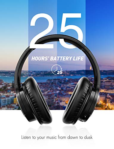 Mpow H7 Wireless Headphones Over Ear, Hi-Fi Stereo Bluetooth&Wired Headphones with CVC6.0 Mic, Lightweight Headphones with Soft Memory Protein Earmuffs for Home Office Online Class Cellphone PC TV