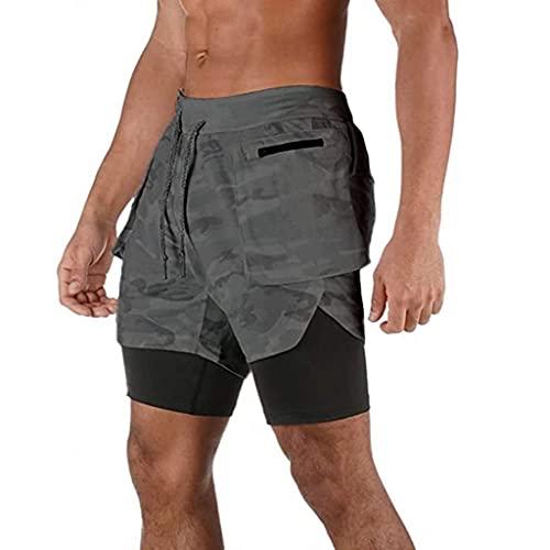 ZAYZ Gimnasio para Correr para Hombre Shorts Deportivos 2 En 1 Transpirable Al Aire Libre Pantalones de Entrenamiento de Entrenamiento con Bolsillo con Cremallera Towel Loop (Color : Gray, Size : XL)