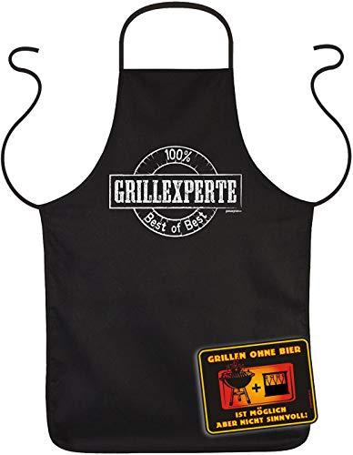 TITAGU Set: Sprüche-Schild+Koch/Grill-Schürze: 100 Prozent Grillexperte Best of Best & Grillen ohne Bier