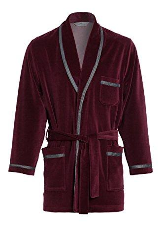 Revise Elegante Corto Vestaglia per Gli Uomini RE-117 - Rosso Bordeaux – 3XL