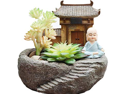 Resin Succulent Plant pots Monk with Temple(Plants not Included