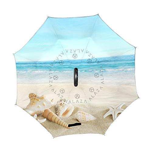 XiangHeFu Double Couche symétrie inversée parapluies Plage Tropicale étoile de mer Seashell Pliant Coupe-Vent Protection UV Big Droit pour Voiture avec poignée en Forme de C